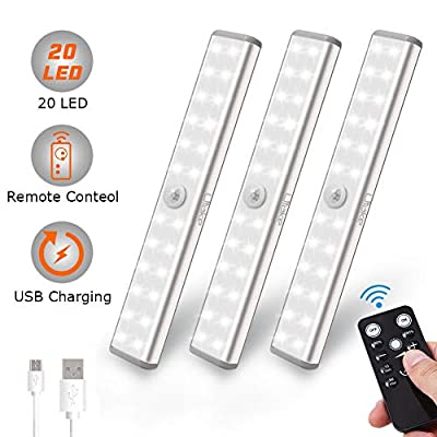 Litake Rechargeable LED Under Cabinet Lighting, 20 LED Wireless Under Cabinet Closet Lights with Remote, Stick-On Magnetic Kitchen Lighting Portable LED Light Bar (3 Pack)