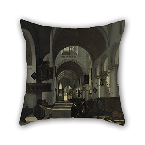 Artistdecor The Oil Painting Emanuel De Witte - Interior Of A Church Cushion Covers Of ,16 X 16 Inches / 40 By 40 Cm Decoration,gift For Shop,adults,husband,home Theater,bedding,kids (double (Wolf Needlepoint Kit)