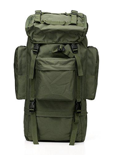 65L Reise Sport Outdoors Camping Wandern Bag Kampf Military Tactical Bergsteiger Rucksack mit Regen Abdeckung für Männer Große (Green)