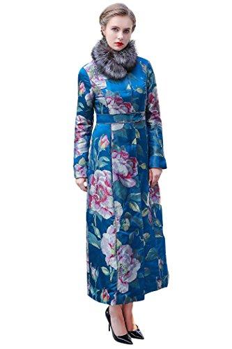 VOA Winter Fox Fur Collar Chinese Style Vintage Silk Jacquard Coat Blue Floral Printed Women Long Coat M7255