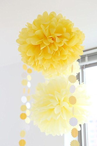 Yellow Cream Grey CUTADORNS 12pcs 10 inch 8inch Tissue Paper Pom-poms Yellow Cream Grey Outdoor Decoration Tissue Paper Pom Poms Party Balls Wedding Christmas Xmas Decoration