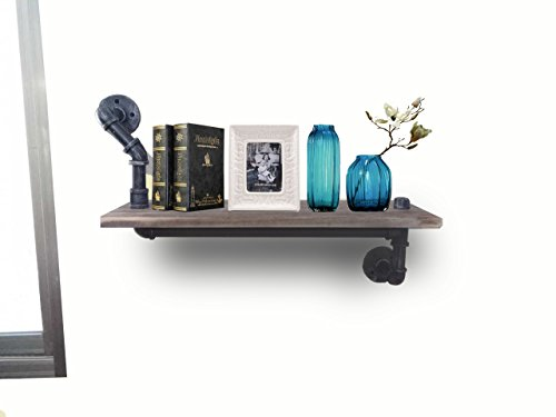 Reclaimed Wood & Industrial Heavy Duty DIY Pipe Shelf Shelves Steampunk Rustic Urban Bookshelf Real Wood Bookshelves and bookcases (1 Tier) 4