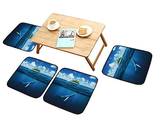 (HuaWu-home Comfortable Chair Cushions Beautiful Island with Palm Trees Reuse can be Cleaned W17.5 x L17.5/4PCS Set)
