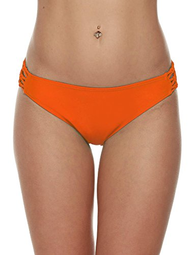 Wlone Brazilian Cheeky Underwear Cut Out Thong Swim Bottom Bikini Brief,  Bottom-orange,  -