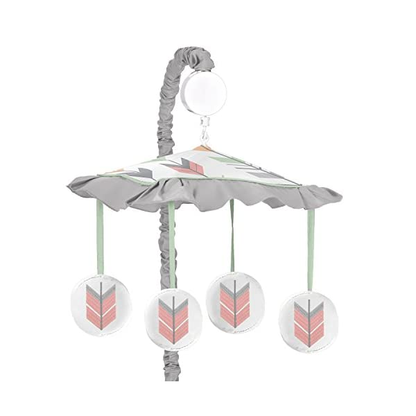 Sweet Jojo Designs Grey, Coral and Mint Woodland Arrow Girls Musical Baby Crib Mobile