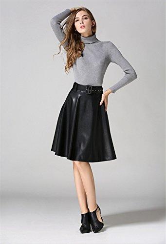 eae824cb1a39 ... Blansdi Damen Mädchen Frauen Frühling Herbst Beiläufig Klassiker Faux  PU-Leder hohe Taille Knielänge Falten ...