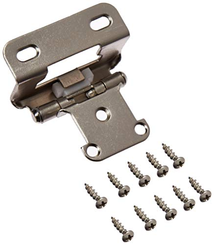 Amerock BP7550G10 1/2 in. (13 mm) Overlay Self-Closing, Partial Wrap Satin Nickel Hinge - 2 Pack ()