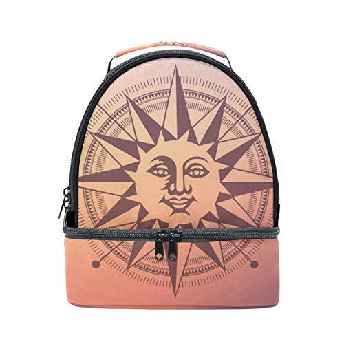 Large Aluminum Sundial - LORVIES Sun Dial Design Lunch Bag Dual Deck Insulated Lunch Cooler Tote Bag Adjustable Strap Handle for Women Men Teens Boys Girls