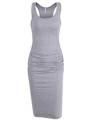 Missufe Women's Ruched Bodycon Sundress Midi Fitted Casual Dress (Heather Grey, -