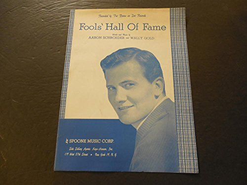 Fools' Hall Of Fame Sheet Music Recorded By Pat Boone 1959 Dot Records