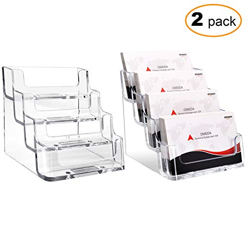 (MaxGear Clear Business Card Holder 4 Pocket Business Card Display, Business Card Stand for Desk or Counter with 4 Tier, 160 Card Capacity, 2 Pack)