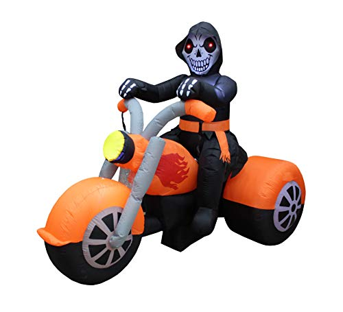 BZB Goods 6 Foot Long Halloween Inflatable Skeleton Ghost Riding on Motorcycle Bike Lights Lighted Blowup Party Decoration for Outdoor Indoor Home Garden LED Prop Yard Blow Up Lawn Decorations by BZB Goods (Image #2)