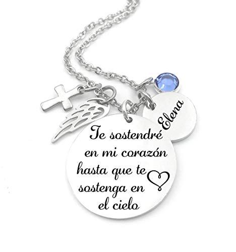 Memorial Jewelry, Spanish,Te sostendré en mi corazón hasta que te sostenga el Cielo, Child loss, Lose of Loved One