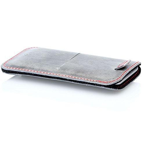 germanmade. g.4 iPhone 8 Plus, iPhone 7 Plus und iPhone 6s Plus Hülle aus Leder stone / grau mit Zuglasche