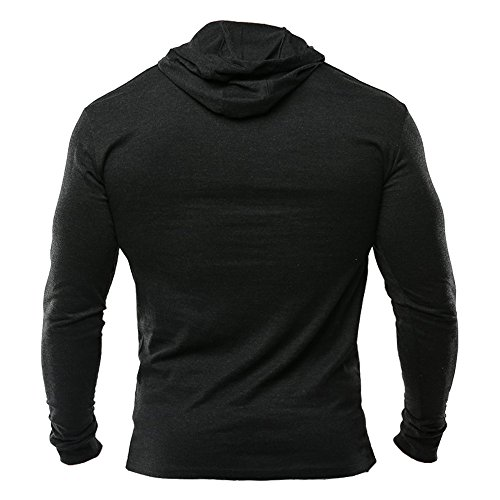 MUSCLE ALIVE Bodybuilding Long Sleeve Hoodie Casual Sweatshirts Stretchy Cotton