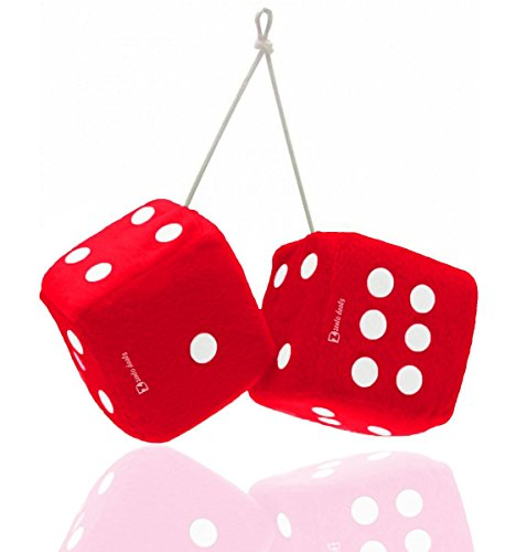 (Zento Deals Pair of Hanging Red Fuzzy Dice with White Dots)