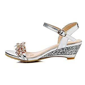 WalterTi Women Sandals Crystal Bling Medium Heels Shoes wedges Woman Sandals Party Dress Shoes Gold 7