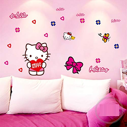 Hello Kitty Wall Stickers Cartoon Wall Decal for Room Vinyl Children Room Decor Girls Room Stickers