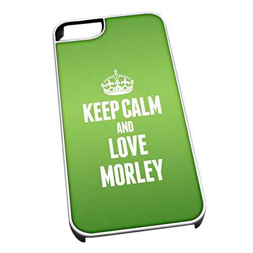 Bianco cover per iPhone 5/5S 0444verde Keep Calm and Love Morley