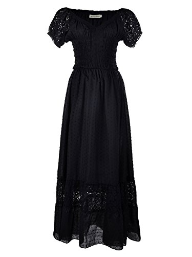 Anna-Kaci S/M Fit Peasant Maiden Boho Inspired Cap Sleeve Lace Trim Dress Black Medium, Black, Medium -