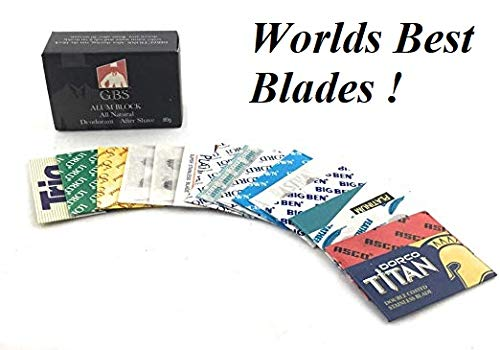 GBS Double Edge Razor Blade Sample Pack - Variety of 16 High Quality Safety Blades for Shaving Razors, Knives, Shavette and More + Bonus GBS Alum Block (Best Quality Safety Razor)