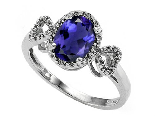 Tommaso Design Oval 8x6mm Genuine Iolite Ring 14 kt White Gold Size 8 ()