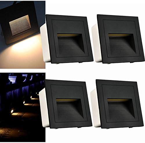 Arote - Juego de 4 lámparas led empotrables de pared iluminacion escalera led escalera empotrables (3 W, aluminio, 230 V, luz blanca cálida, IP65, impermeable), color negro: Amazon.es: Iluminación