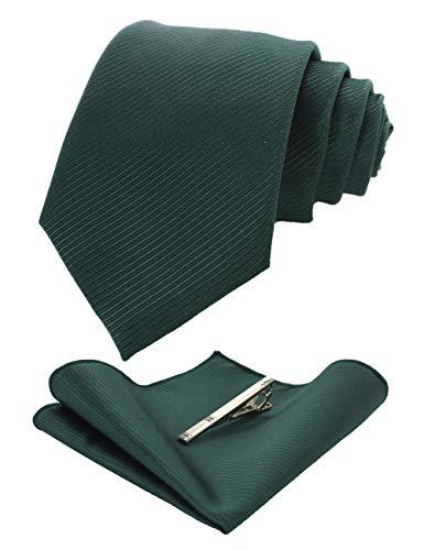 JEMYGINS Dark Green Formal Necktie and Pocket Square Tie Clip Sets for Men (35)