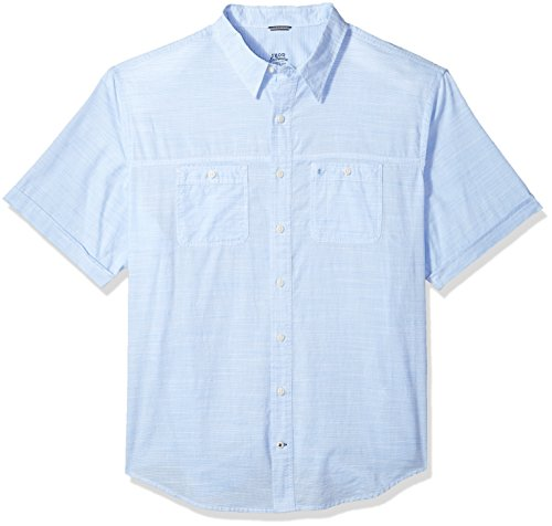 IZOD Men's Big Dockside Chambray Solid Short Sleeve Shirt (Big & Tall and Tall Slim), Little boy Blue, -
