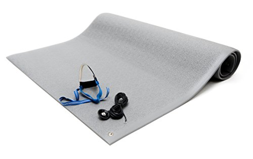 Bertech ESD Anti Fatigue Floor Mat Kit with a Heel Grounder and Grounding Cord, 3' Wide x 4' Long x 0.375