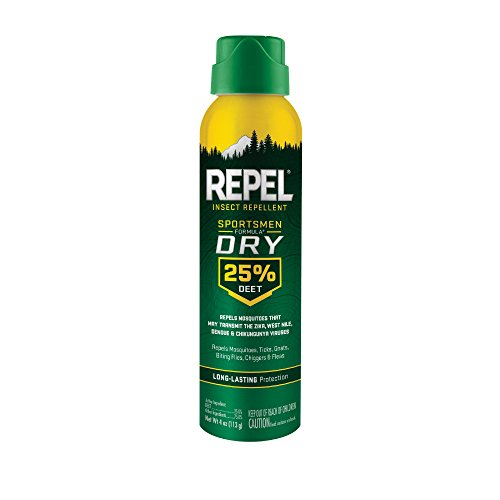 Repel Insect Repellent Sportsmen Formula Dry 25% DEET, Aerosol, 4-Ounce, 6-Pack
