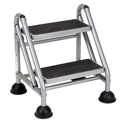 Cosco Rolling Commercial Step Stool, 2-Step, Platinum/Black