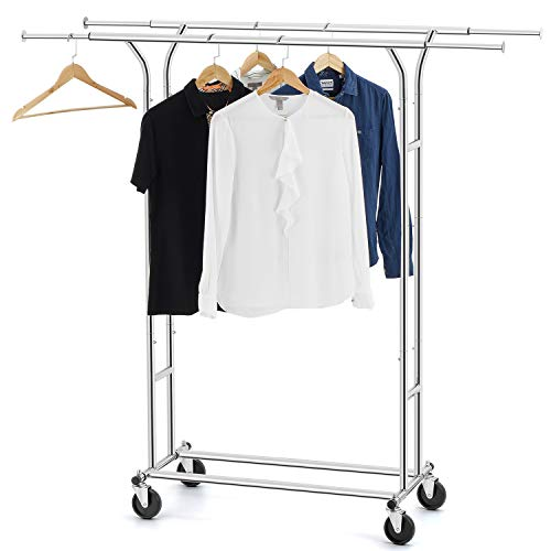 (Bextsware Clothes Garment Rack, Commercial Grade Clothes Rolling Heavy Duty Storage Organizer on Wheels with Adjustable Clothing Rack, Holds up to 200 lbs, Chrome)