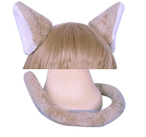 Felix The Cat Costume (ROLECOS Felix Argyle Cat Fox Long Fur Ears Headband + Tails Halloween Cosplay Party)