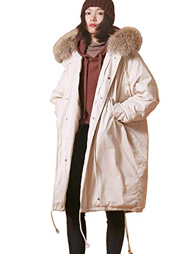 Used, Women Solid Long Down Jacket with Fur Hood, Thicken for sale  Delivered anywhere in USA
