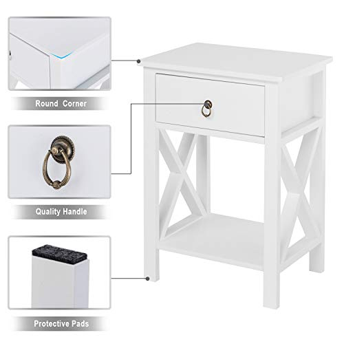 Bonnlo White End Side Table Nightstand Bedside Table with Drawer and Storage Shelf