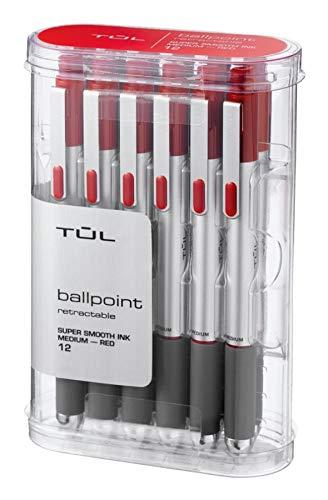 - TUL BP3 Ballpoint, Retractable, Medium Point, 1.0 mm, Silver Barrel, Red Ink, Pack of 12