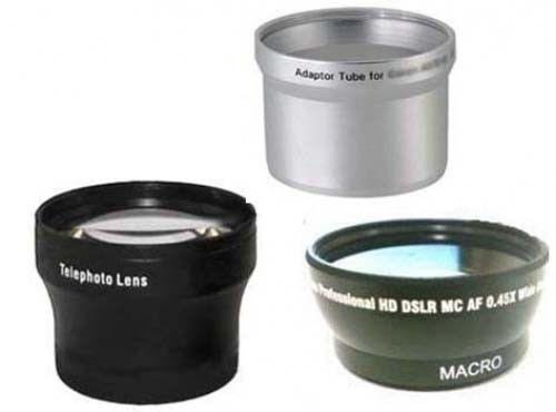Wide + Tele Lens + Tube Adapter bundle for Canon Powershot A570IS, Canon A590, Canon ()