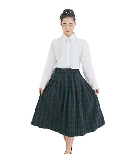 Womens Vintage Cotton Academic Style Scotland Pleated Plaid Mid-calf Long Skirts Green