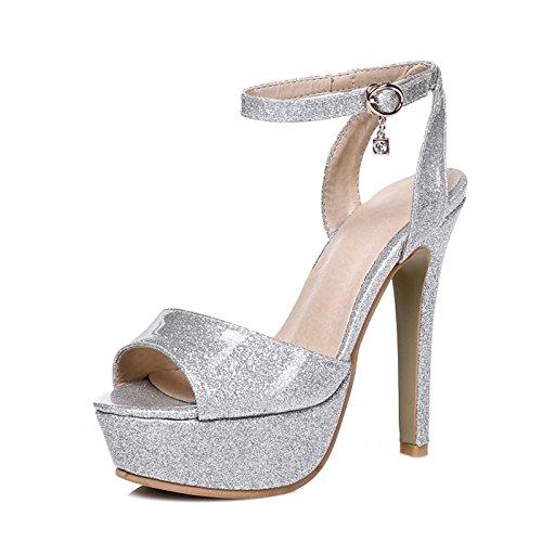 Oro rojo Verano personalizados talón Primavera Novedad Plata piel sandalias Materiales sintética básica para Boda de bomba de zapatos Silver ZHZNVX noche Stiletto XxqwA8RUFx