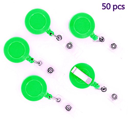 Simple Retractable Badges,Dealzip Inc Green Perfect Retractable Badge Reel ID Key Card Name Tags Holders Belt Clip-50 pcs (Real Name Badge)