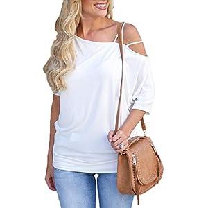 Ajpguot Maglietta da Donna Sexy Senza Spalline Top Camicie Moda T-Shirt a Manica Corta Bluse di Colore Solido
