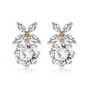 Kesaplan Sunflower Swarovski Crystal Drop Earrings Rose Gold Dangle Round Earrings for Women Bohemia National Style…