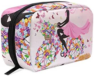 Cosmetic Bag Flower Butterfly Bicycle Girl Customized Makeup Bags Square Organizer Portable Pouch Pencil Storage Case for Women