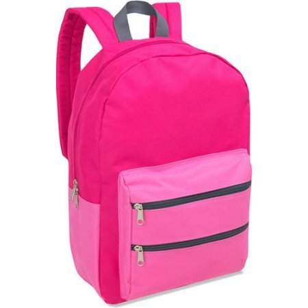 Full Size Dome Backpack With Double Zippered Pocket 17 Inch (Pink)