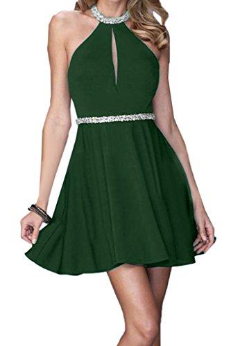 Linie Ivydressing Festkleid A Mini Rueckenfrei Partykleid Abendkleid Damen Promkleid Chiffon Neckholder Dunkelgruen ZIqrxwInz4