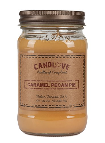 "CANDLOVE ""Caramel Pecan Pie Scented 16oz Mason Jar Candle 100% Soy Made in The USA"
