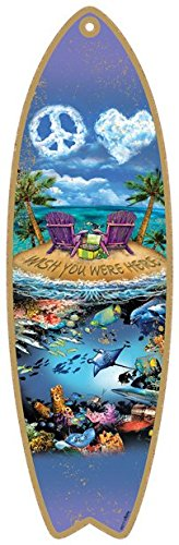 SJT96217-Wish-you-were-here-with-beach-chairs-on-island-5-x-16-Surfboard-Wood-Plaque-featuring-the-artwork-of-Michael-Messina