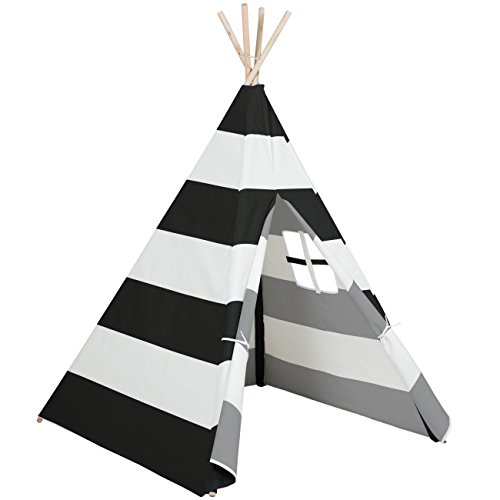 Best Choice Products 6ft Kids Stripe Cotton Canvas Indian Teepee Playhouse Sleeping Dome Play Tent w/ Carrying Bag, Mesh Window - White/Black -