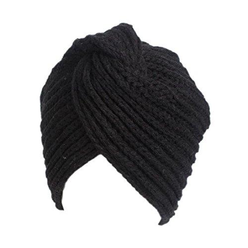 Yezijin Women Ladies Retro Winter Knitting Hat Turban Brim Hat Cap Polyester (A) ()